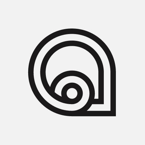An abstract, curvy thick lined logo