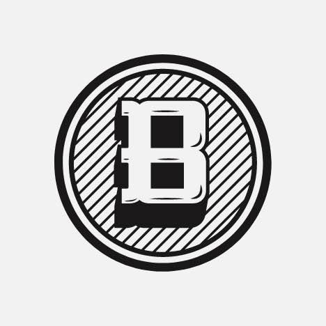 A round monogram logo badge