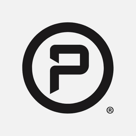 A round logo with the letter p