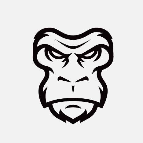 An aggressive gorilla face icon