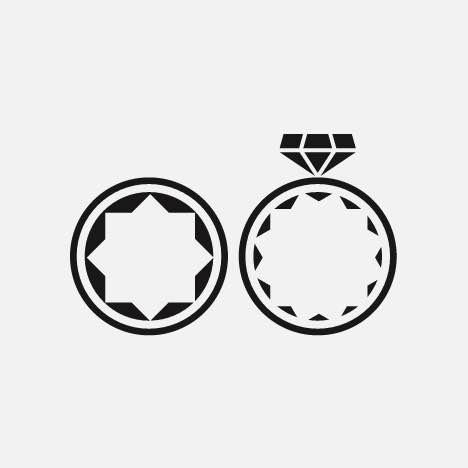 Two modern style wedding ring icons