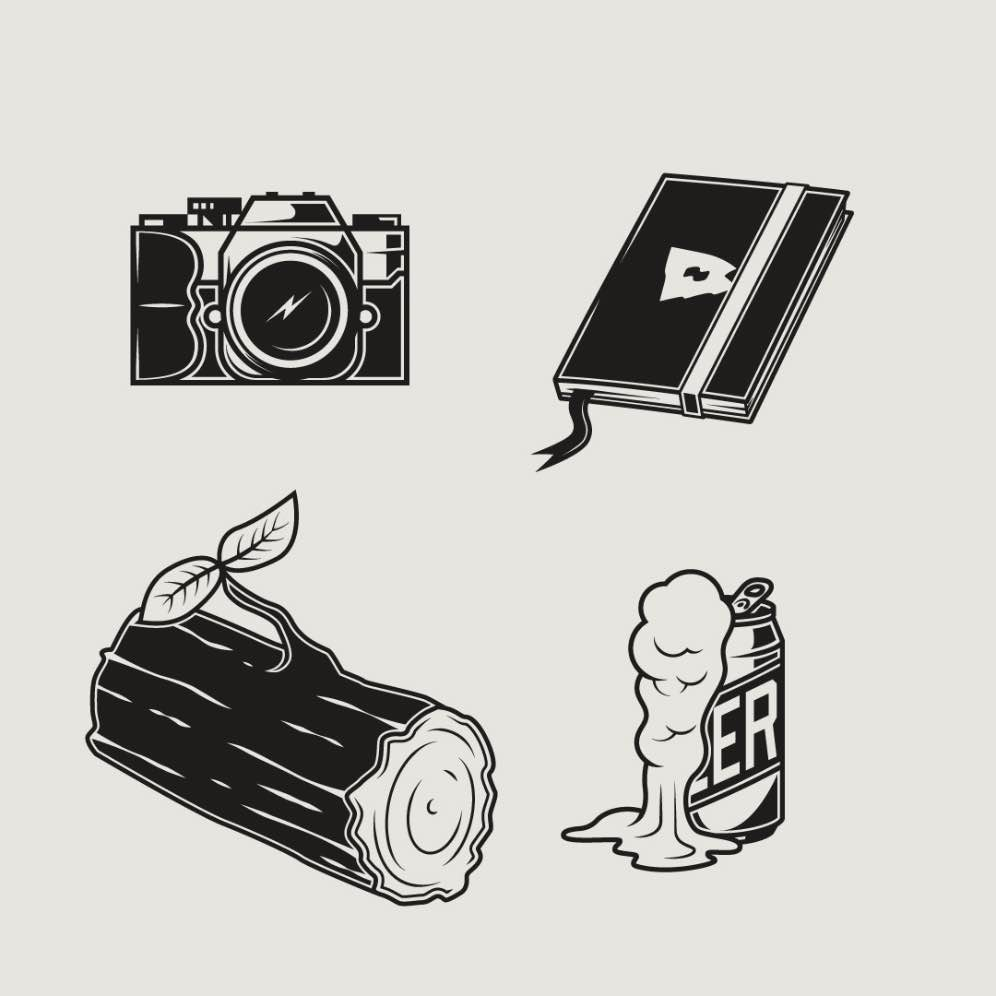 Four b/w icons on a cream background