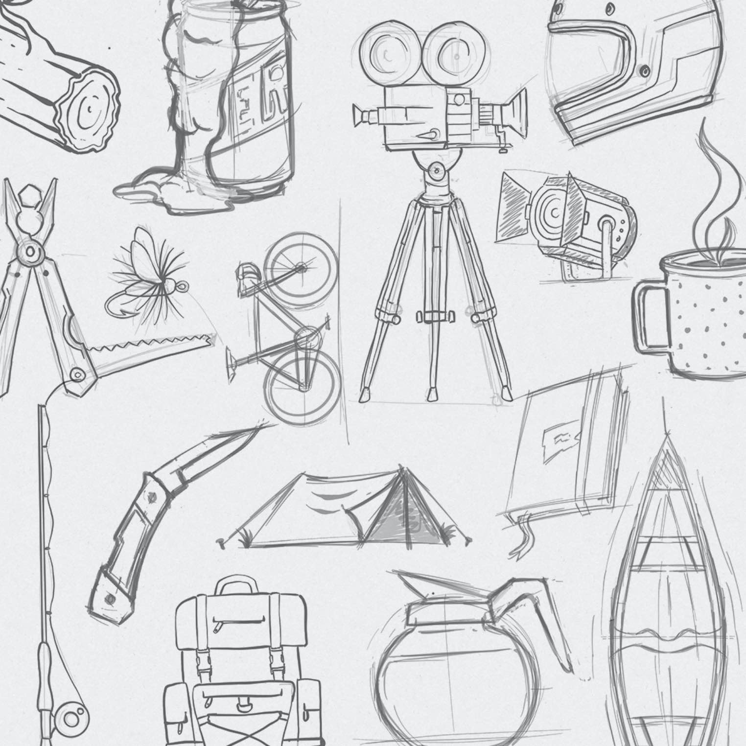 Film icon pencil sketches