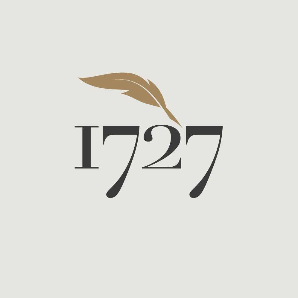 1727 text with gold quill