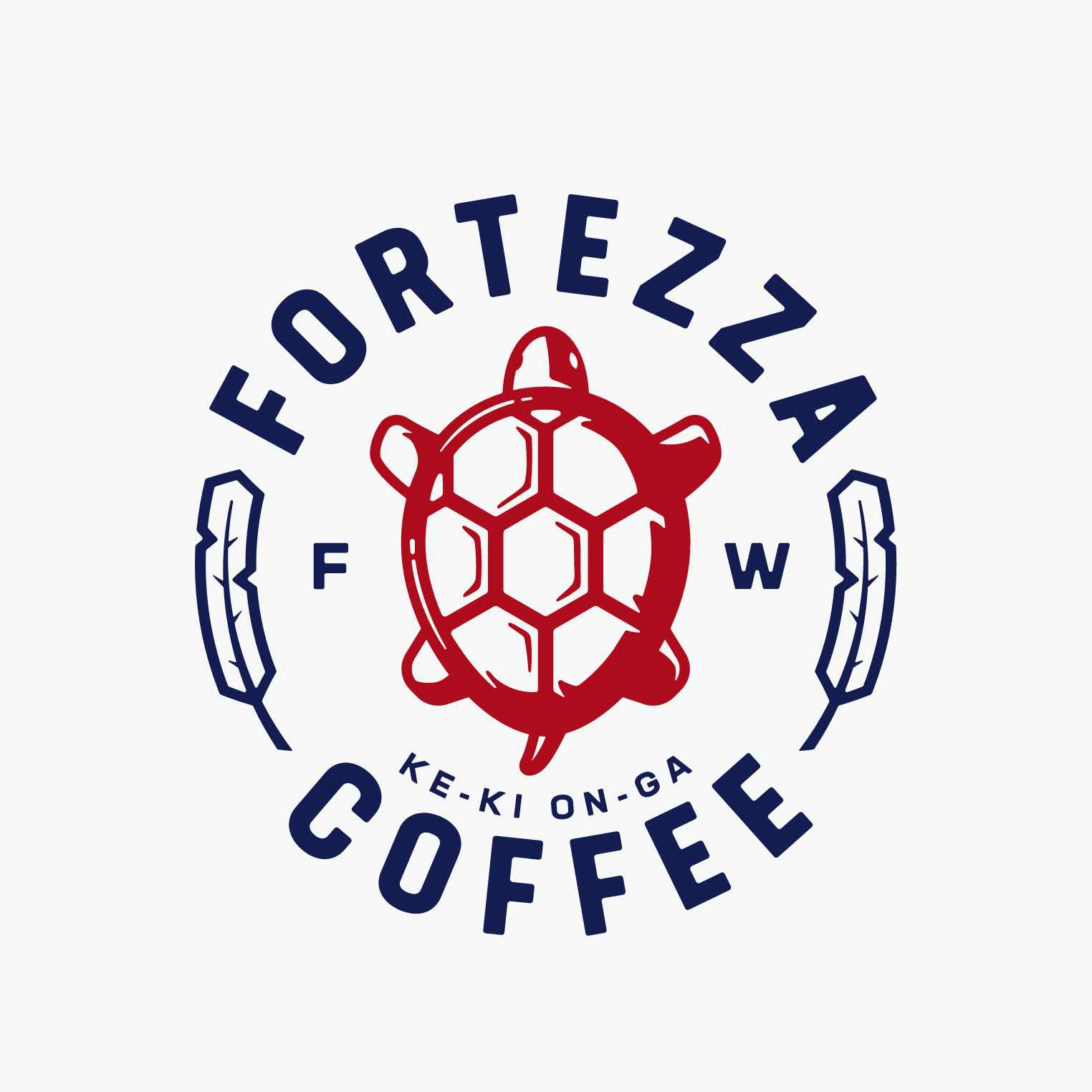 fortezza logo with red turtle and blue text