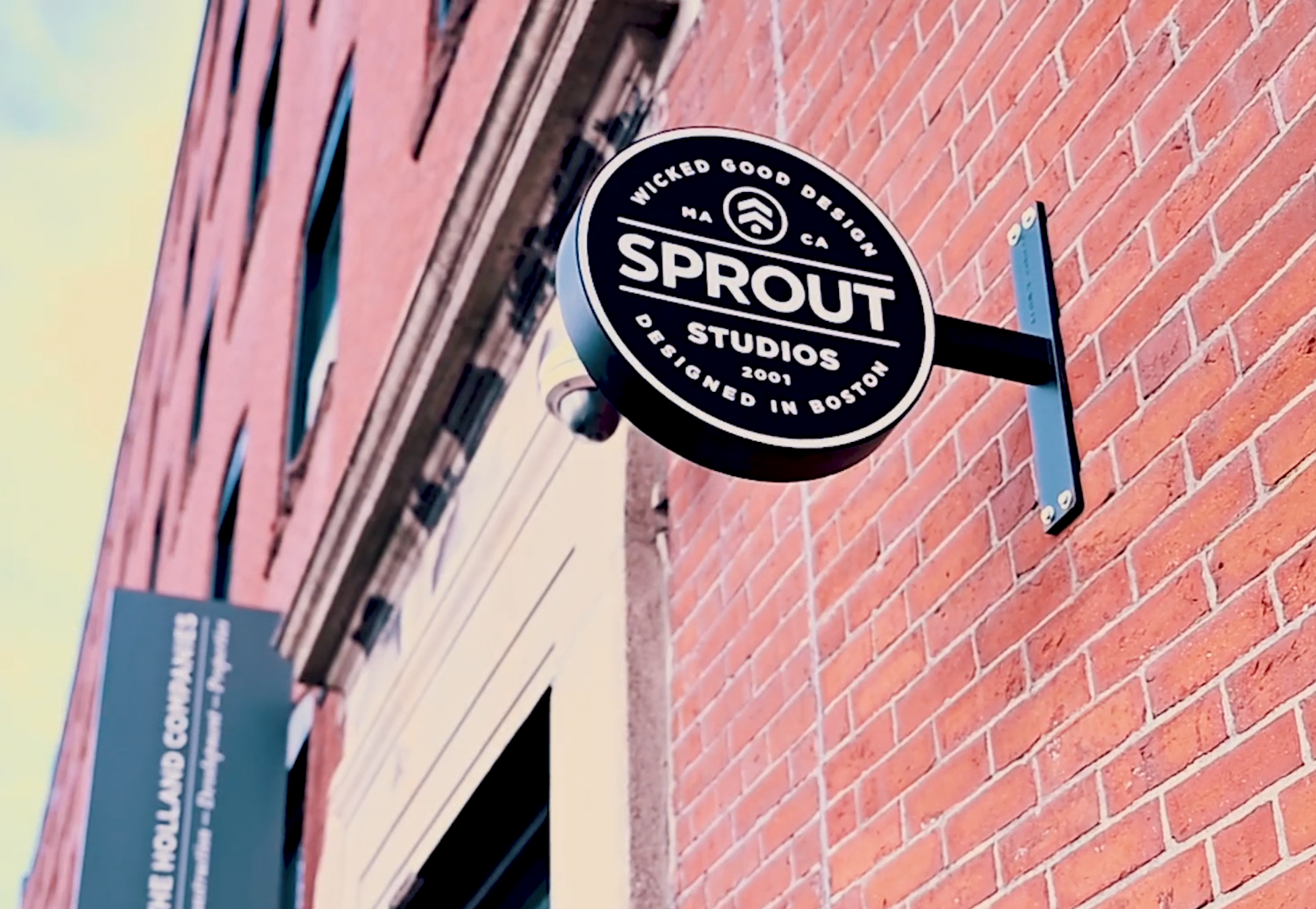 Photo of the Sprout Studios sign outside their door