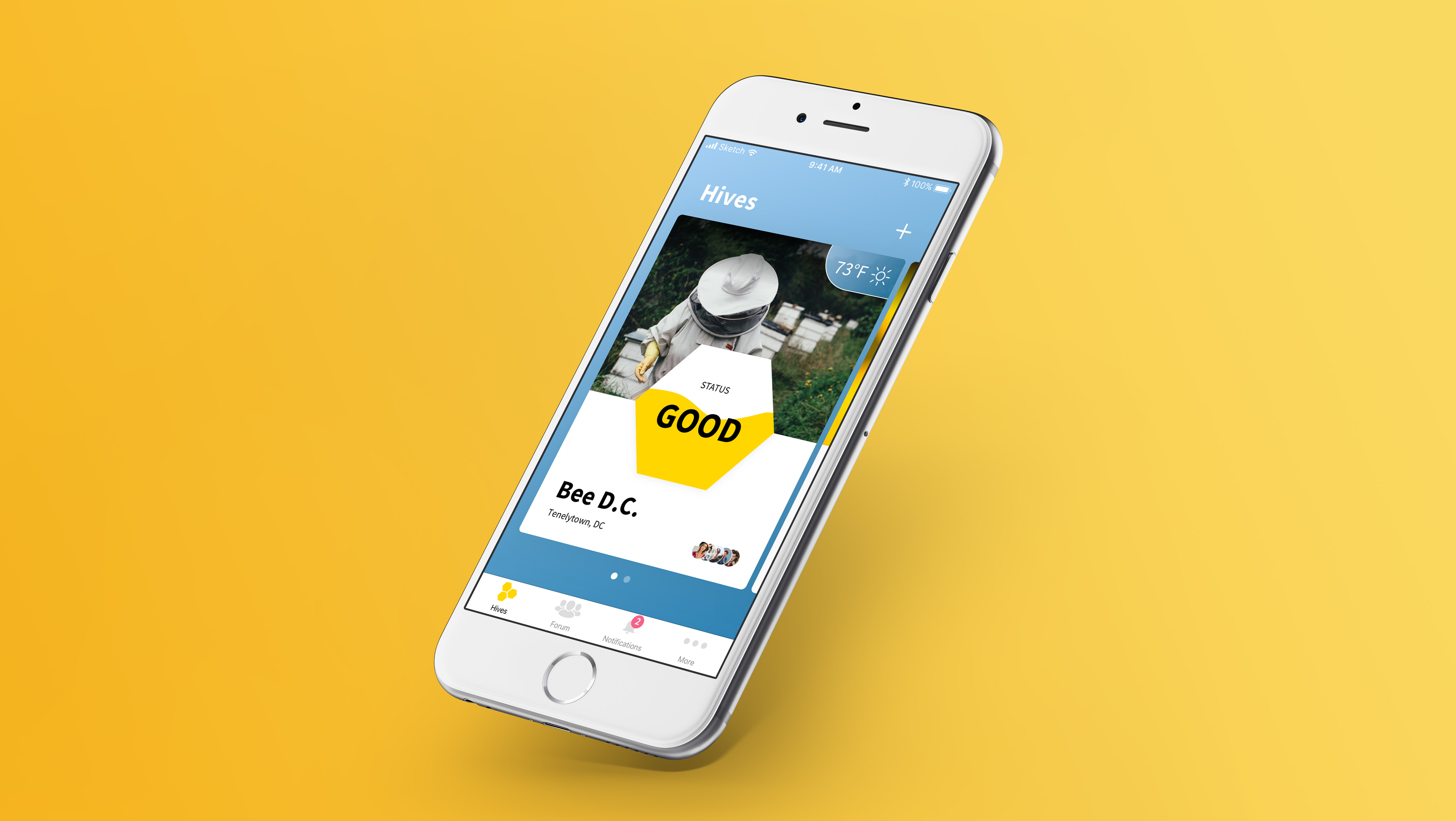 BeeOne App in iPhone with Yellow Background