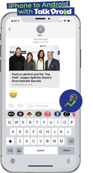 iPhone to Android message with Talk Droid