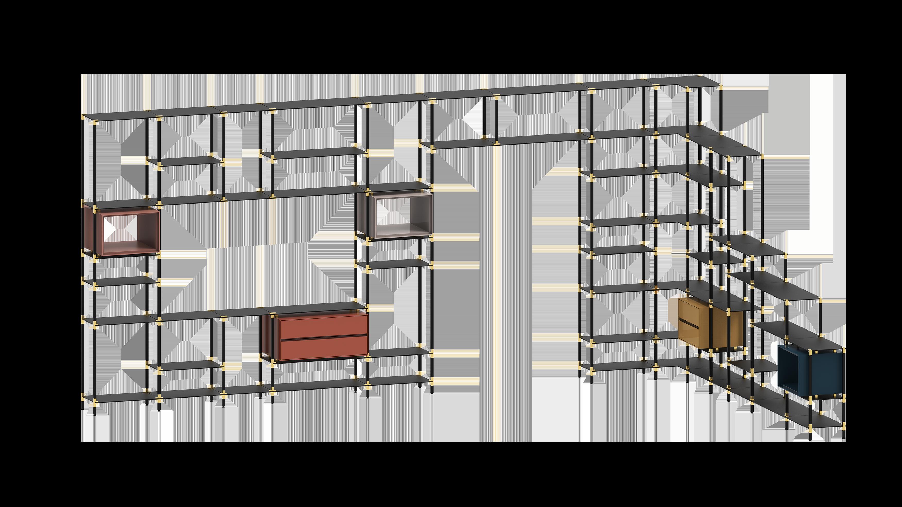 Raumgestaltendes tRACK Regalsystem mit zahlreichen multifunktionalen Erweiterungen.