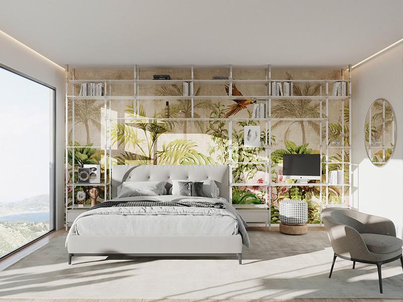 tRACK-Möbelsystem als Wandregal und Nachttisch im Schlafzimmer.