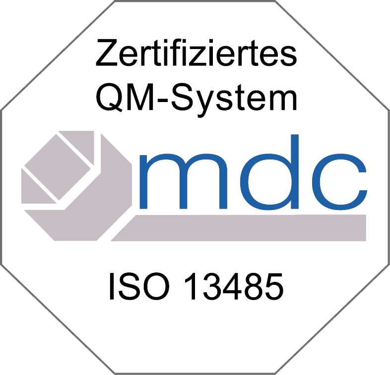 Plakette des QM Systems der Zeisberg GmbH nach ISO 13485