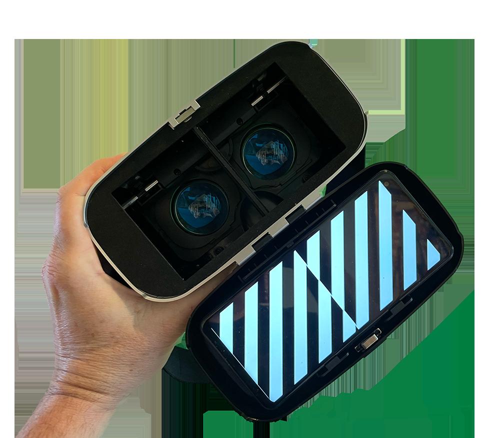 MdDS Reset VORtex in open VR bril toont verticale strepen voor Mal de Débarquement behandeling