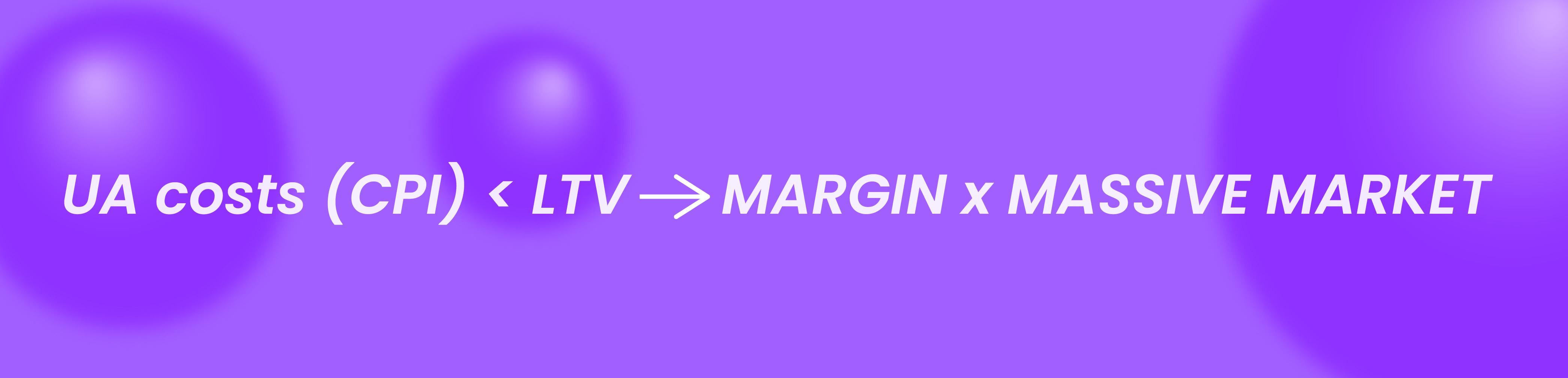 UA costs (CPI) < LTV → margin x massive market