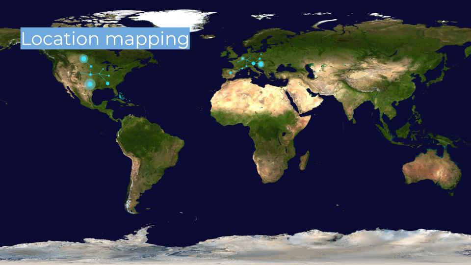 Weltkarte mit kleinen Punkten, die einzelne Dias mit deren Herkunft verbinden soll