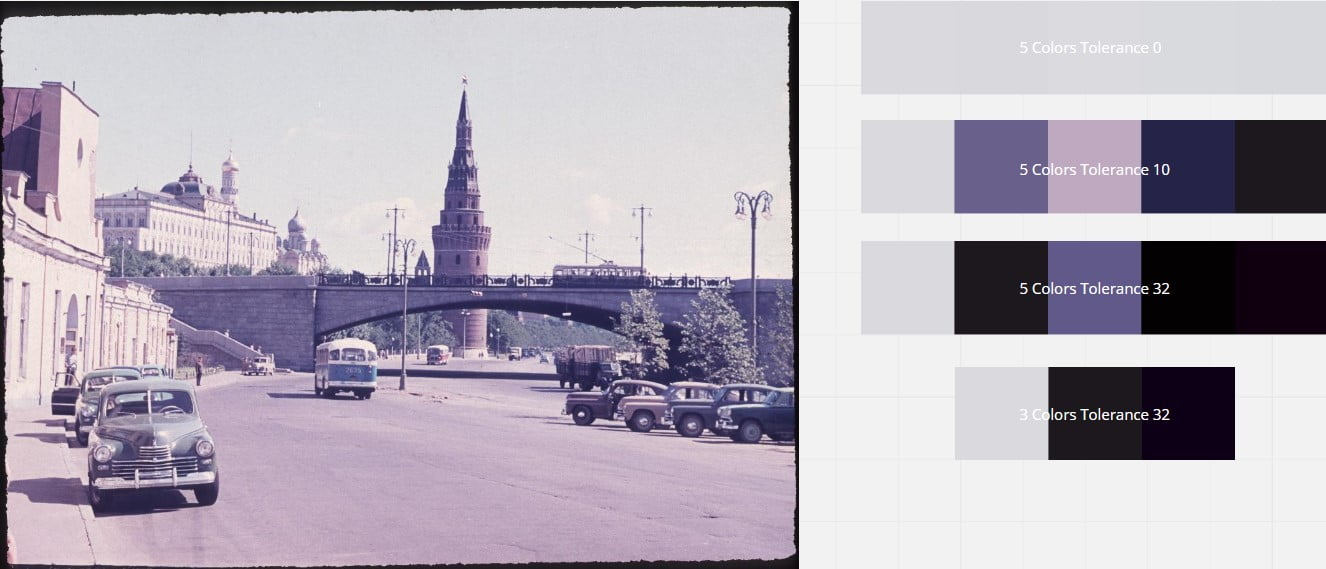Screenshot eines Dias mit den daraus extrahierten Farben (dunkle Violetttöne)