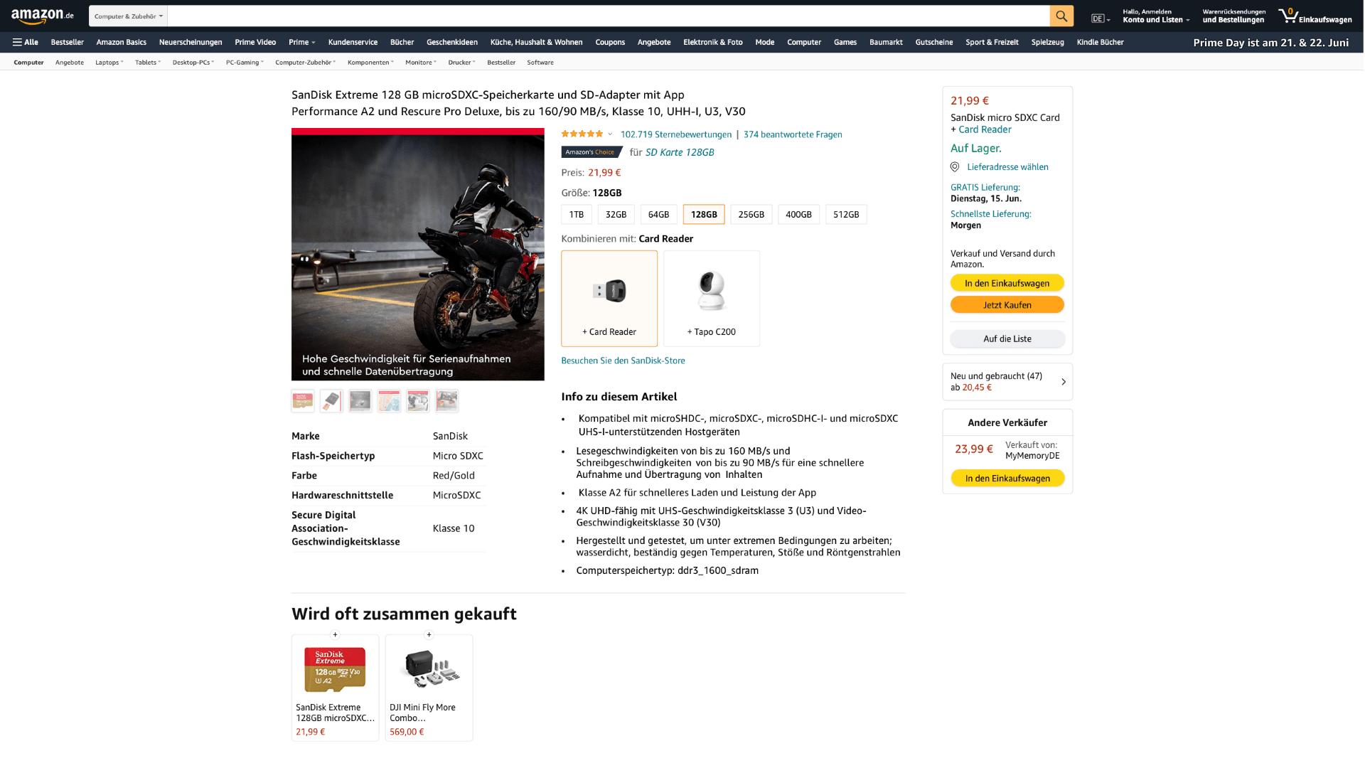 Screen eines verbesserten und aufgeräumten Amazon Shops