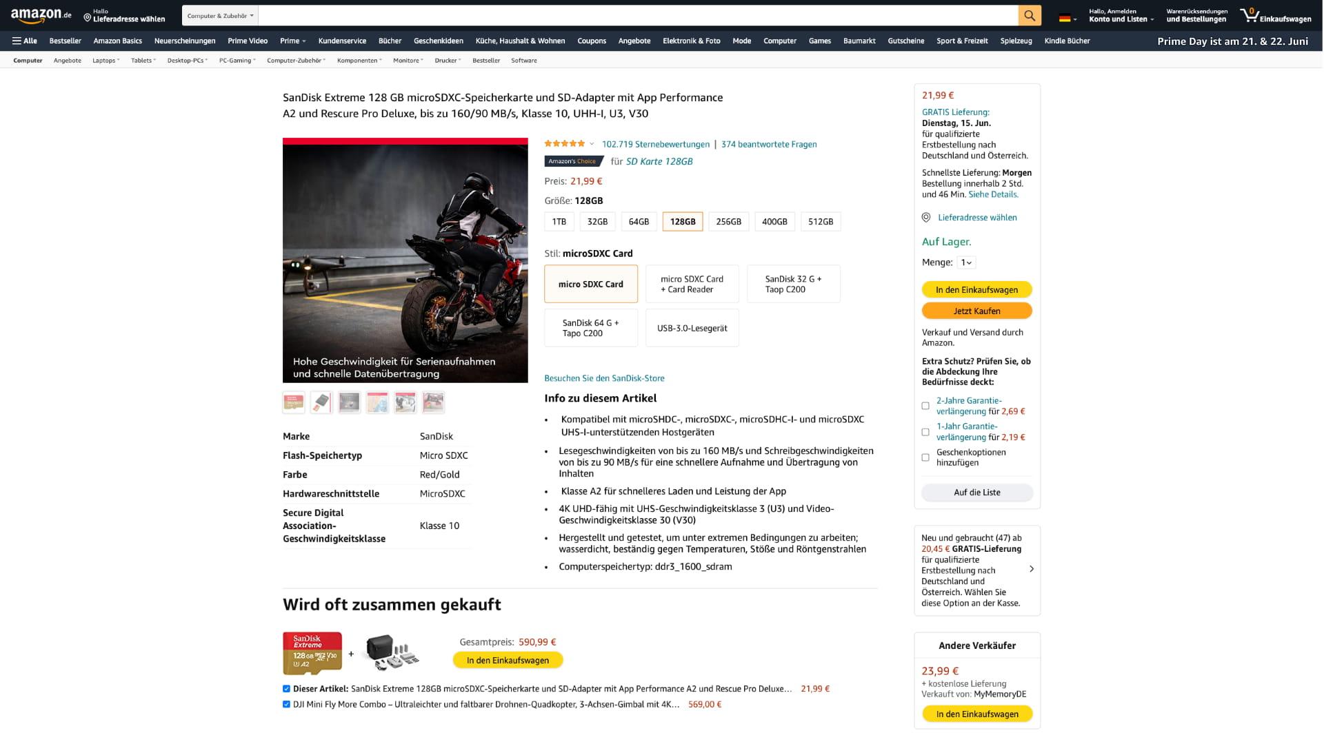 """Variante der """"Stil Auswahl"""" von Amazon mit Kacheln und Text"""