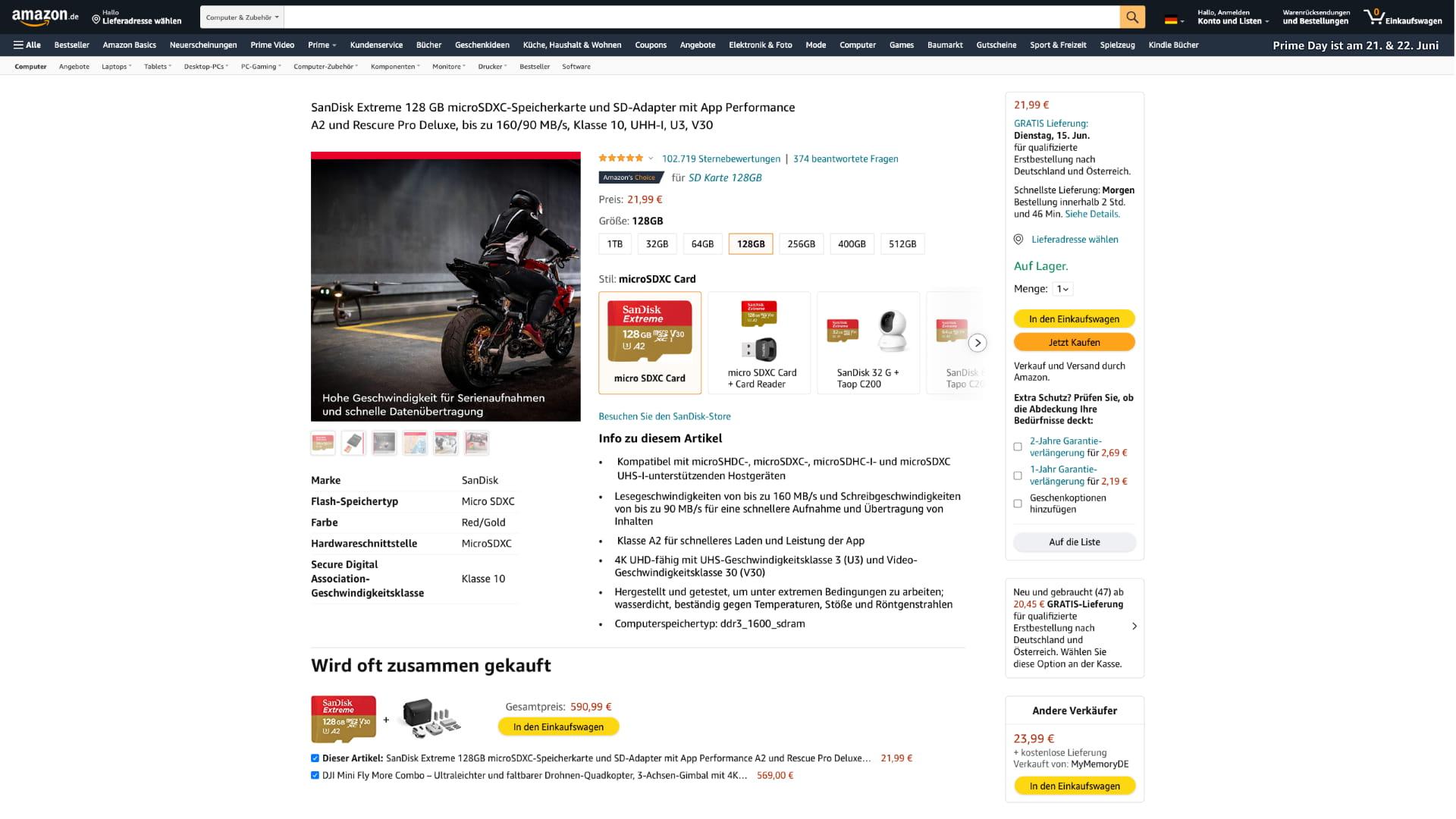 """Variante der """"Stil Auswahl"""" von Amazon mit Kacheln, Bild und Text"""