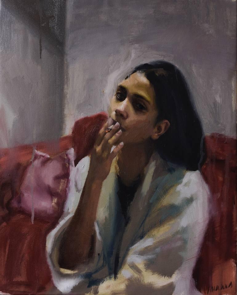 Girl Smoking Painting by Guido Mauas | Saatchi Art