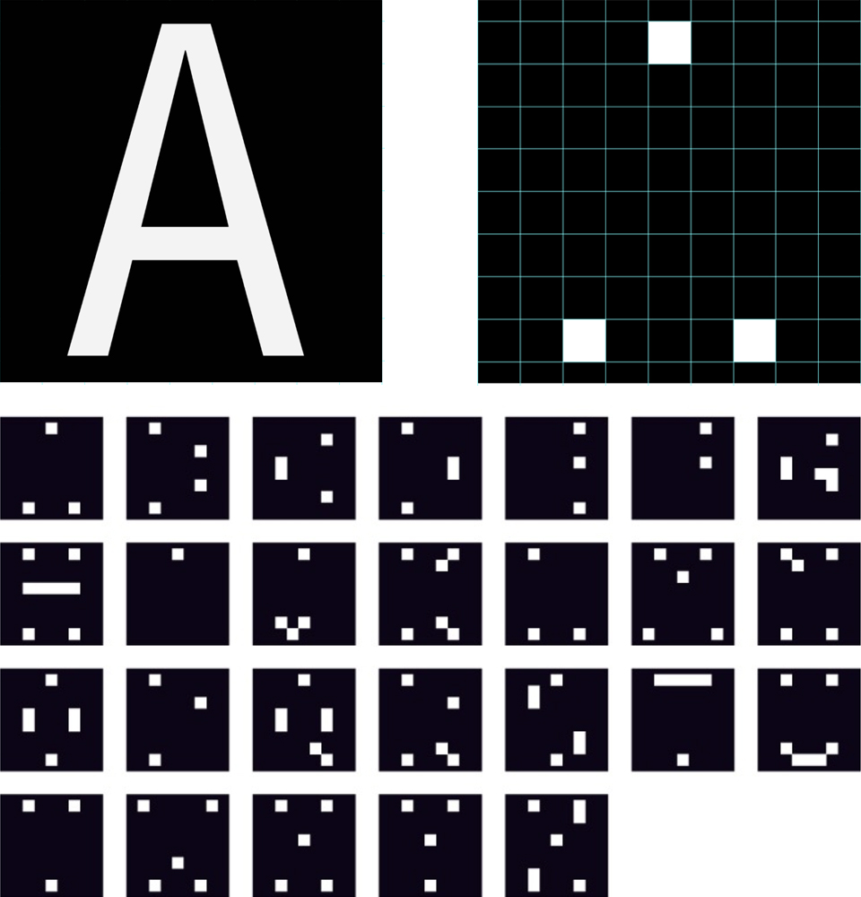 """Chart of the 26 letters of Dot.Font. the letter """"A"""", with its typical triangular structure, was reduced to three dots"""