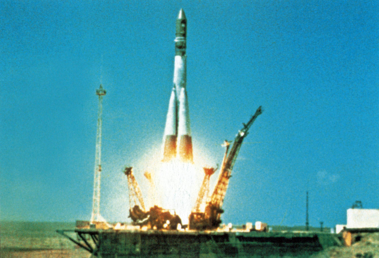 VOSTOK 1 launch in Russia. Image used in the book BEYOND by Stephen Walker