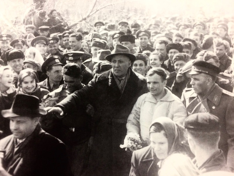 Yuri Gagarin greeted by crowds of people on returning to Moscow.  Image used in the book BEYOND by Stephen Walker