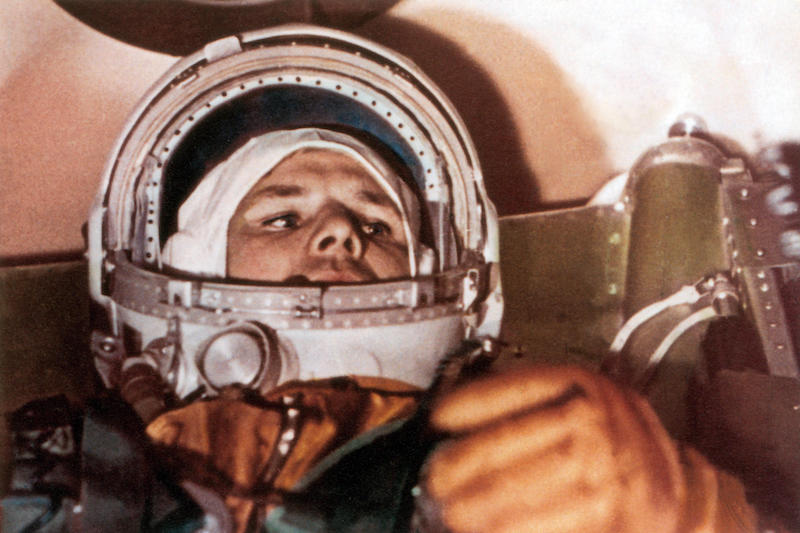 Yuri Gagarin in the cockpit of Vostok 1 before lift off.  Image used in reference to the book BEYOND by Stephen Walker