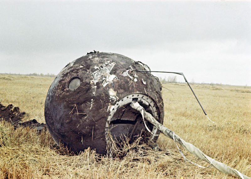 Yuri Gagarin's capsule after landing. Image used in the book BEYOND by Stephen Walker