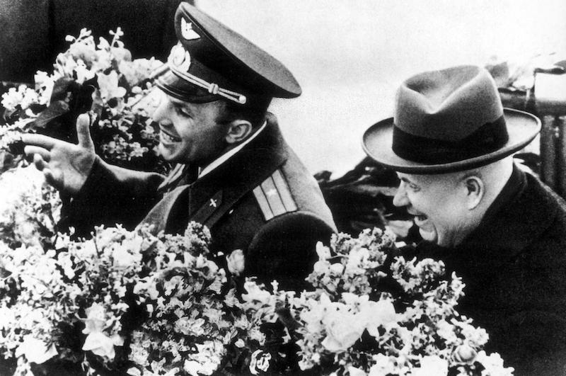 Nikita Khrushchev and Yuri Gagarin. Image is in reference to the book BEYOND by Stephen Walker