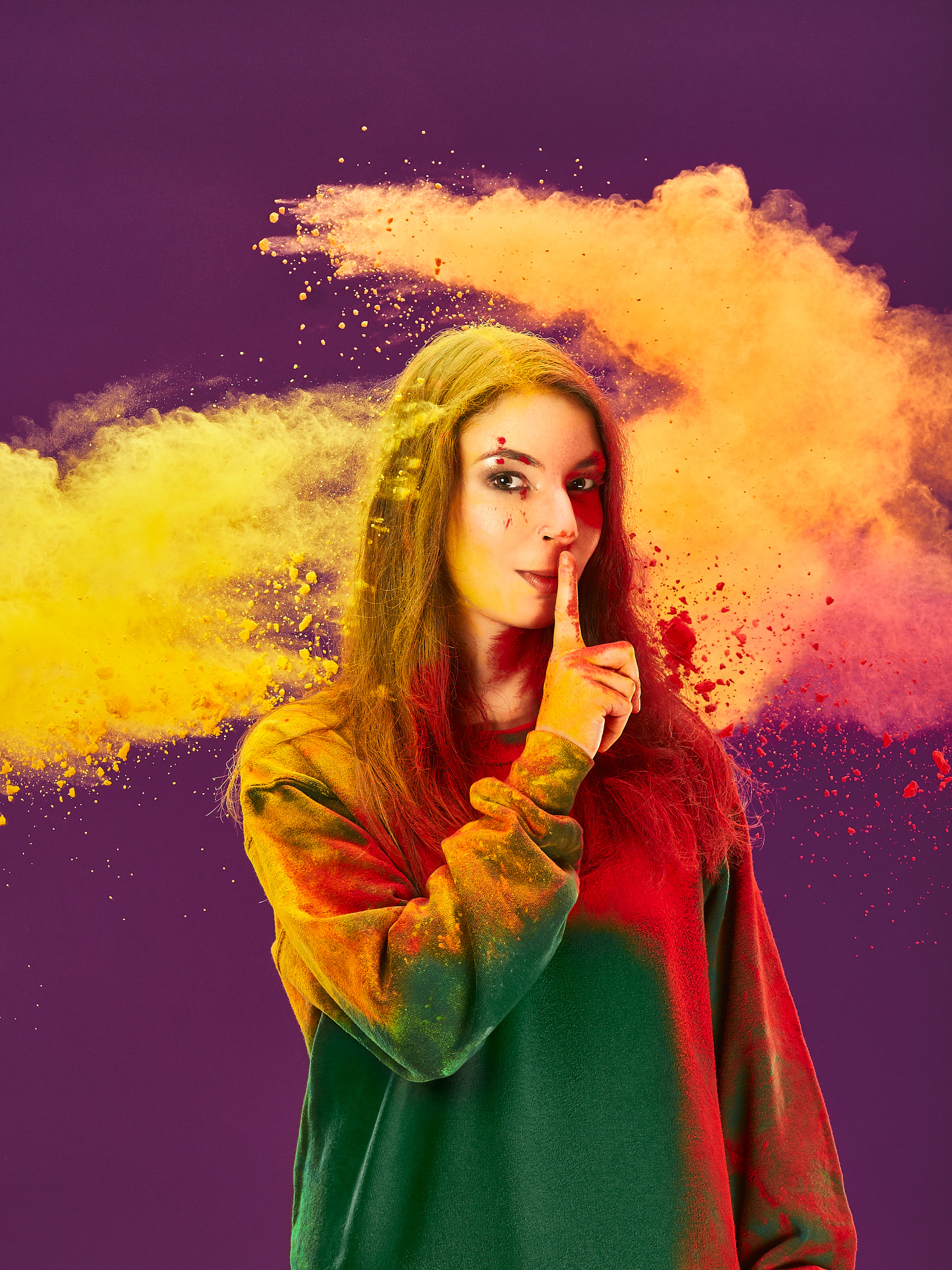 Portrait in studio with colored powder for a McDonald's internal campaign