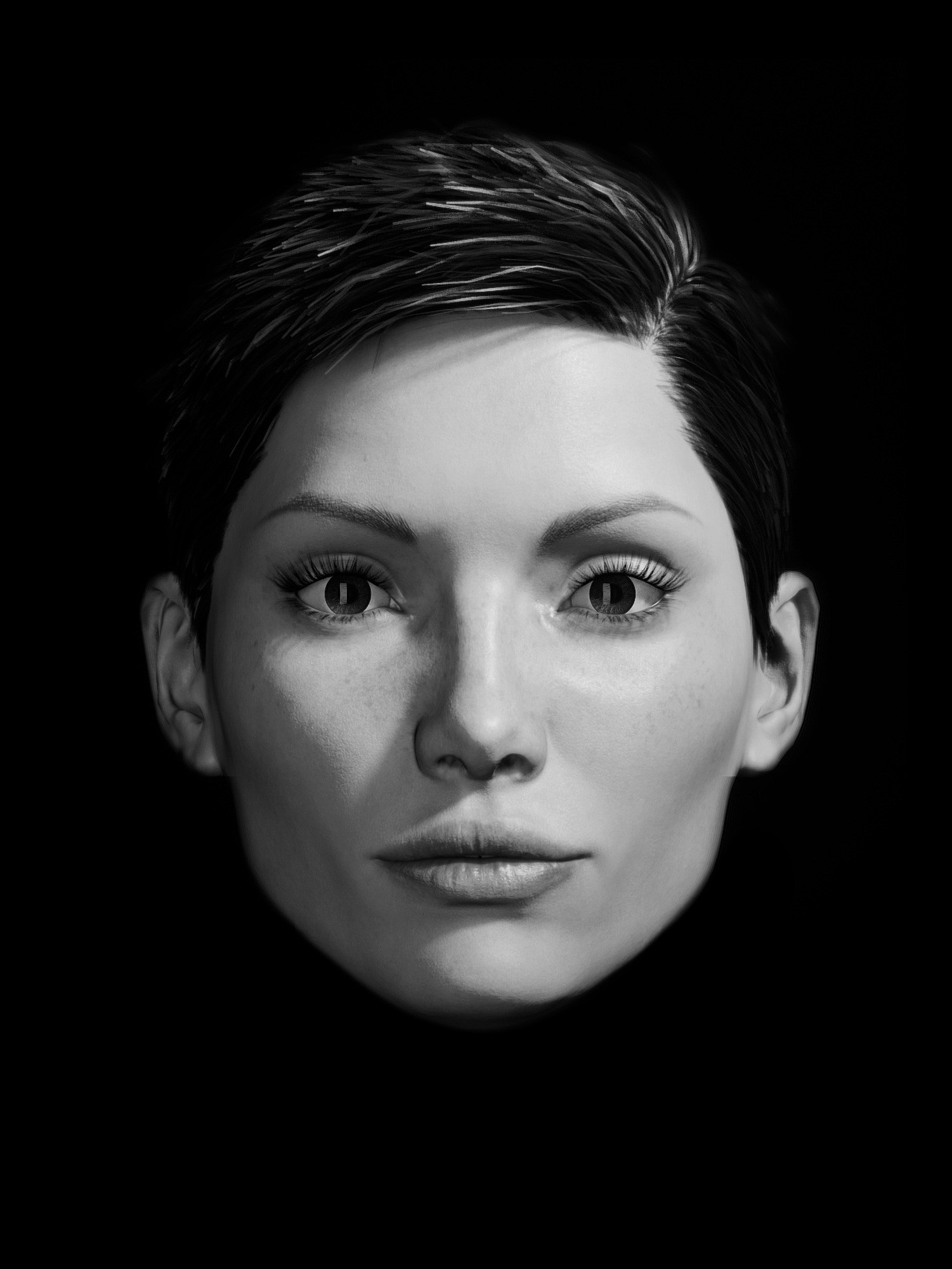 Concept of close-up black and white portrait in studio for a McDonald's internal campaign