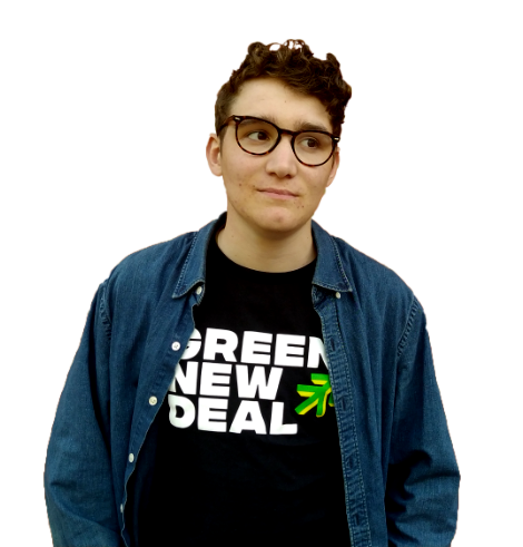 Joe Brindle, climate activist, with Green New Deal t-shirt