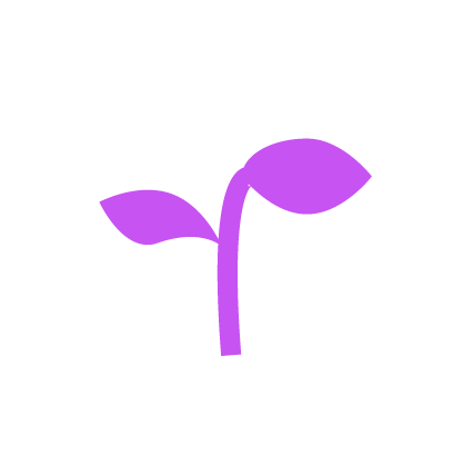 Lack of opportunities icon purple and white plant growing