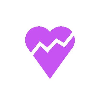 Violence Icon Broken Heart purple and white