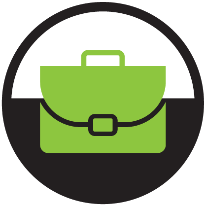 Career Guidance Icon green and black business briefcase