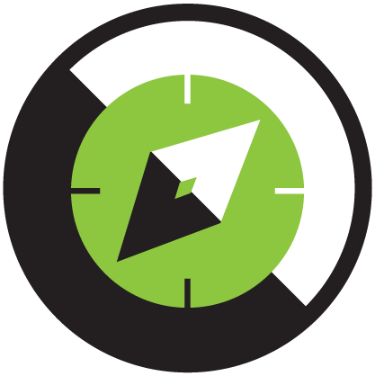 Self development and mentorship icon green and black compass