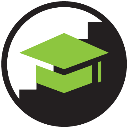 Academic Support Icon green and black graduation cap