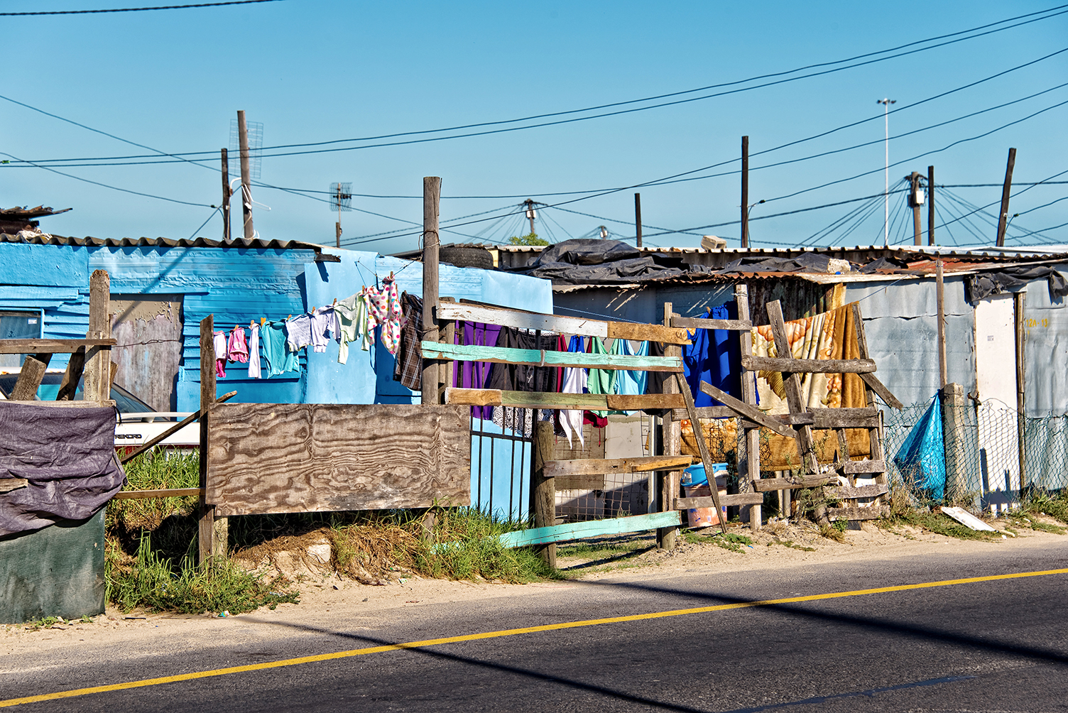 Image of makeshift wall of township in Cape Town South Africa