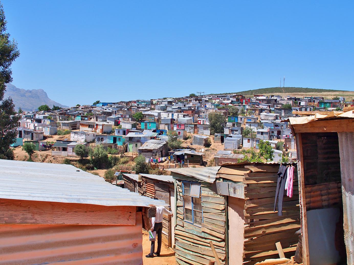 Township built on sandy hill in Stellenbosch South Africa