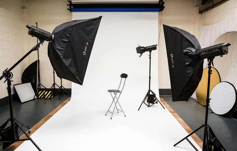 Interior of commercial photography and video production studio
