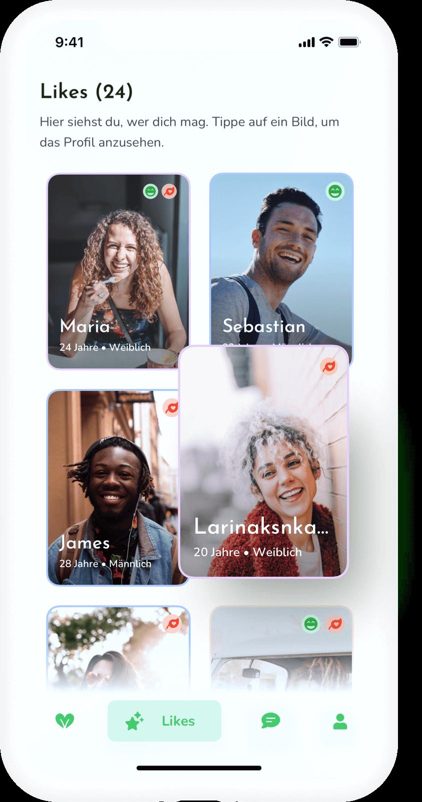 Likes Vorschau in der App