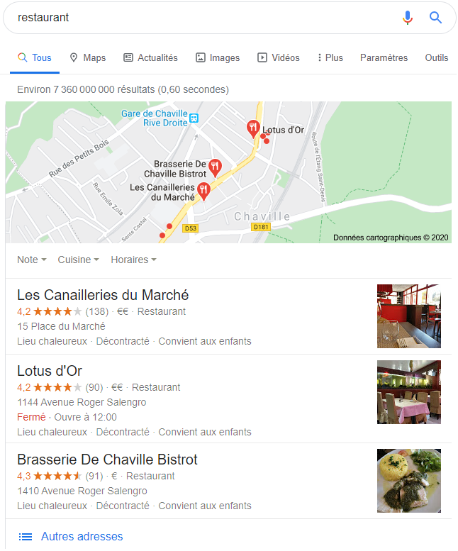 Exemple Google Local pack