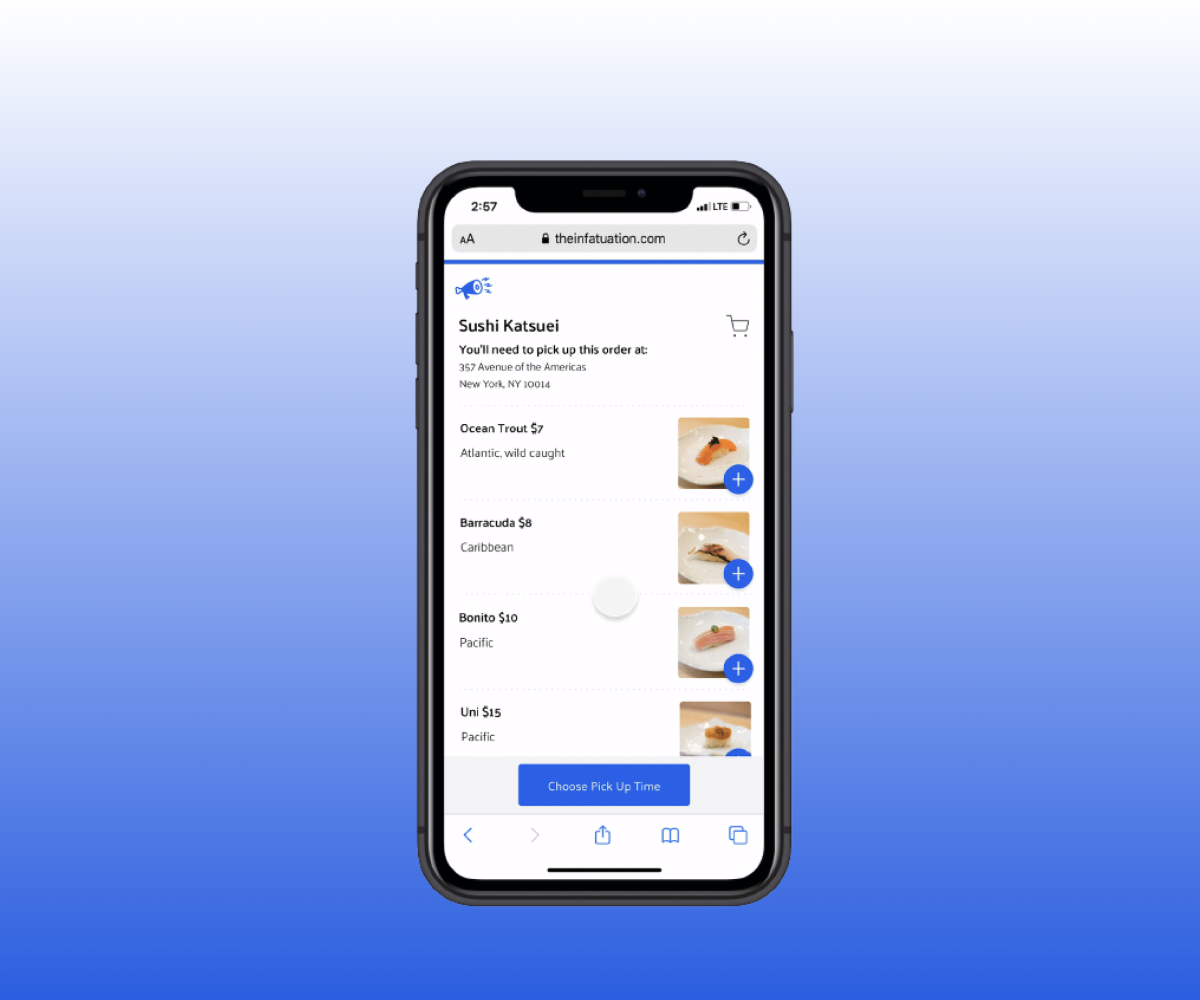 iPhone with a food ordering webpage open