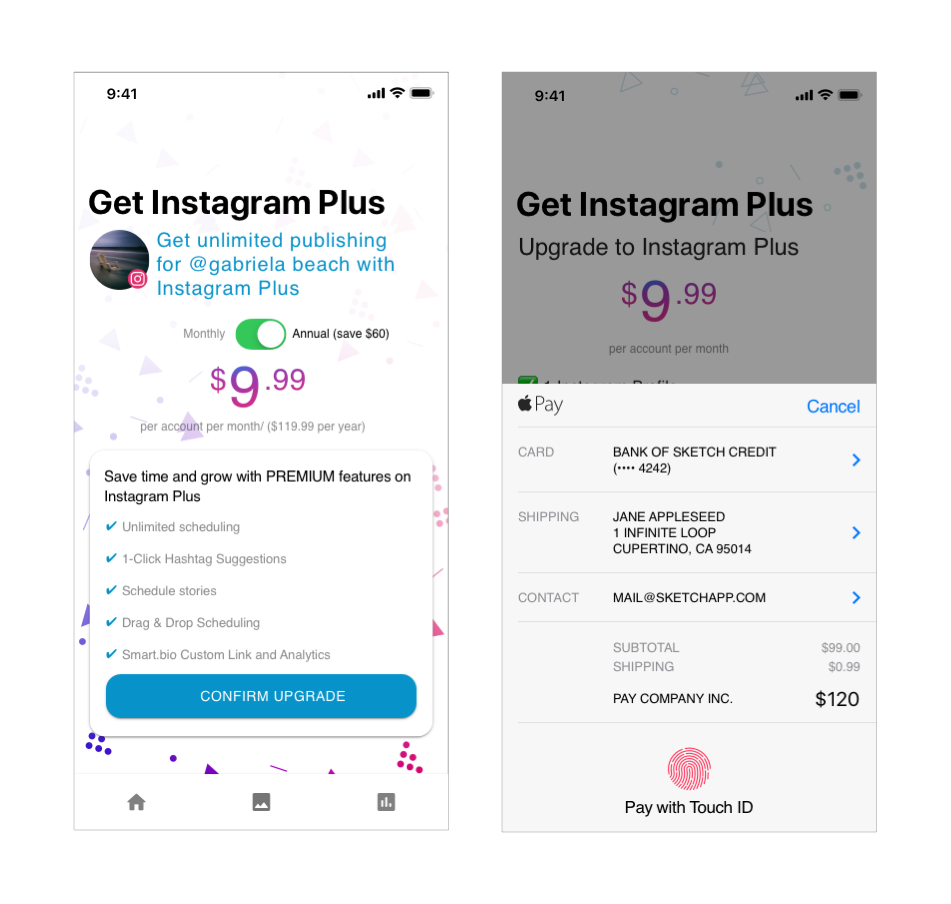 iPhone with screens that show the option to purchase an app subscription