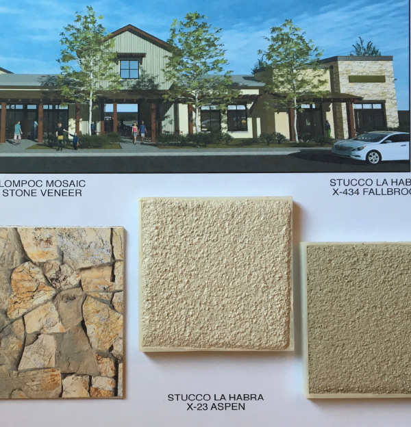 detailed swatch board with approved materials - stucco and stone