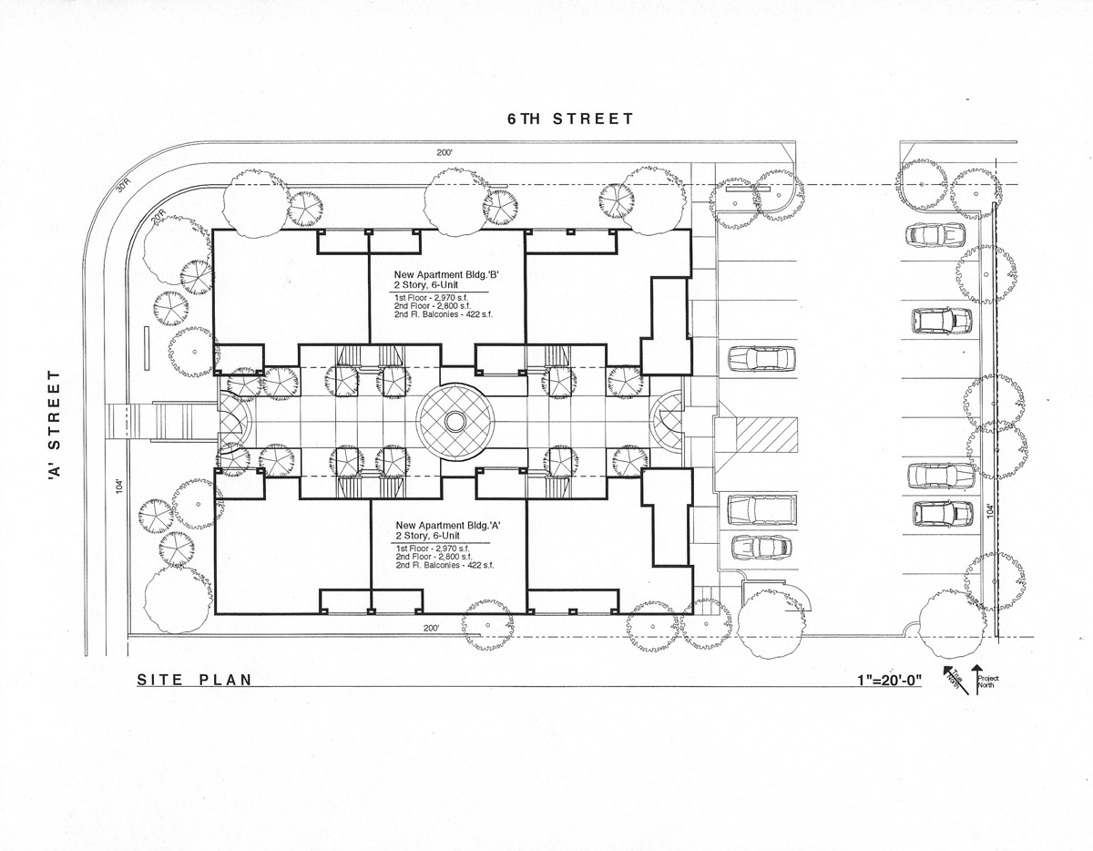 The site plan layout focuses the living units toward a beautiful courtyard, instead of overlooking a parking lot.