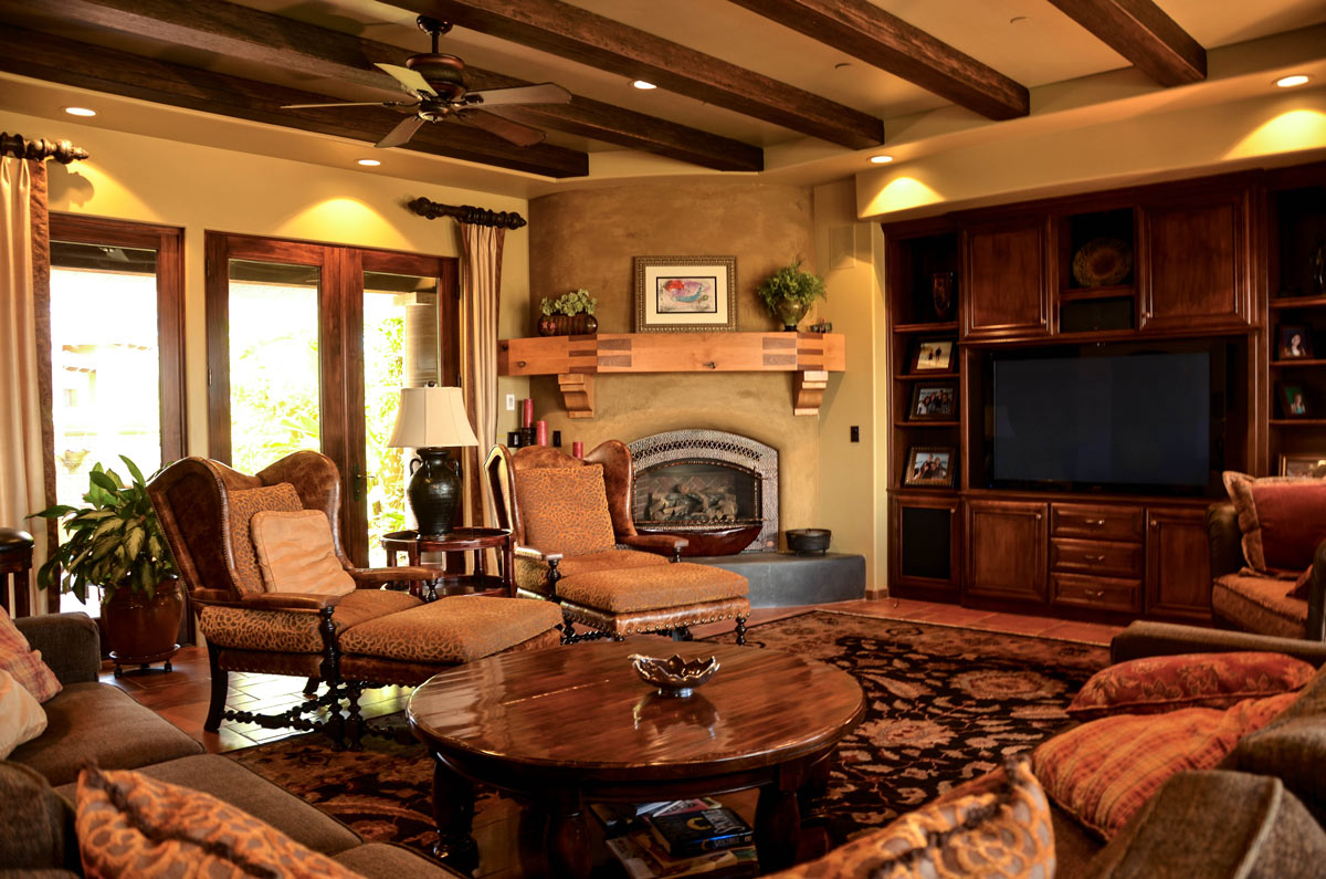 The Great Room has a wet bar, beautiful fireplace and large entertainment center.