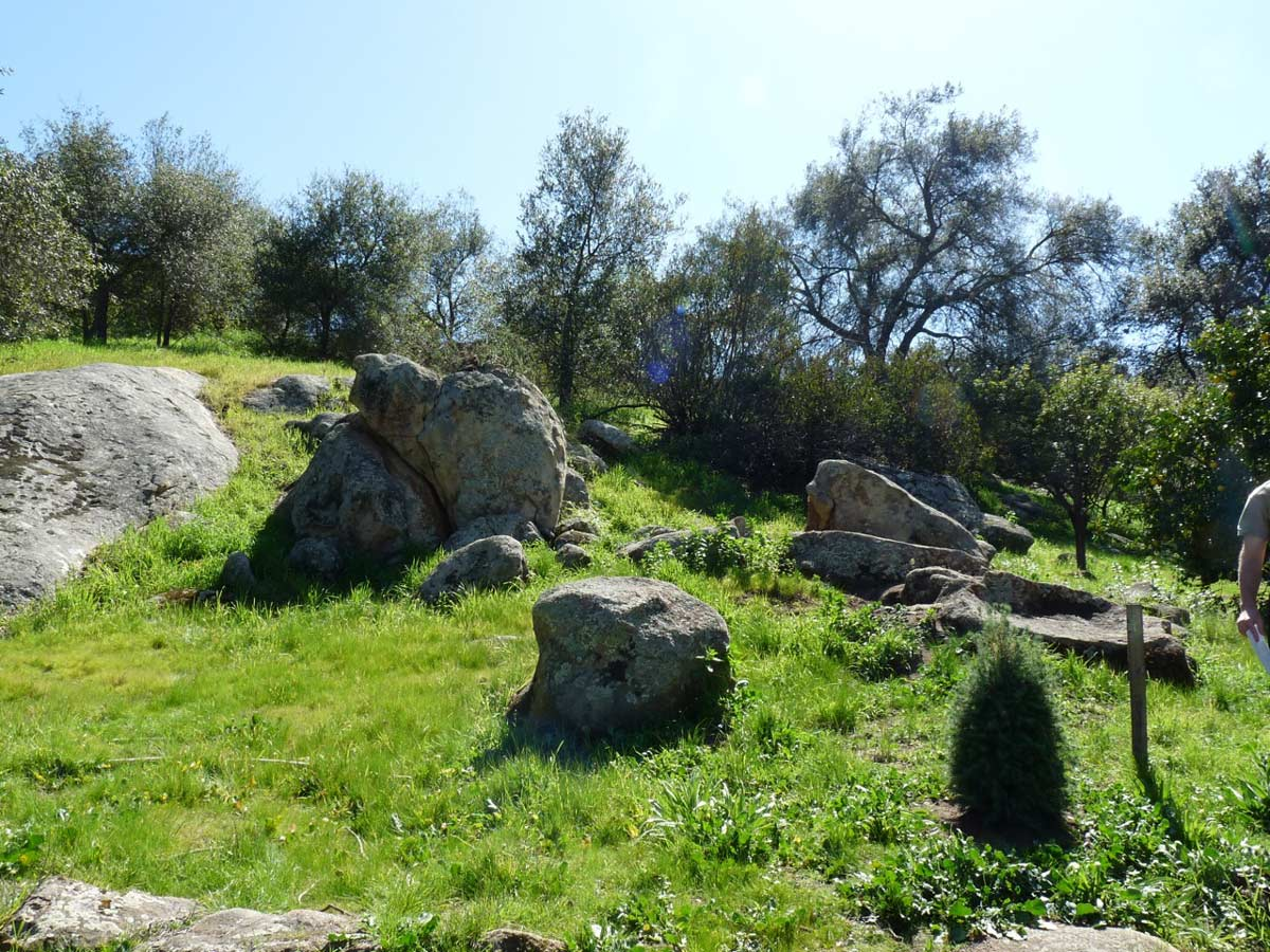 The site has many rock outcroppings and mature trees.