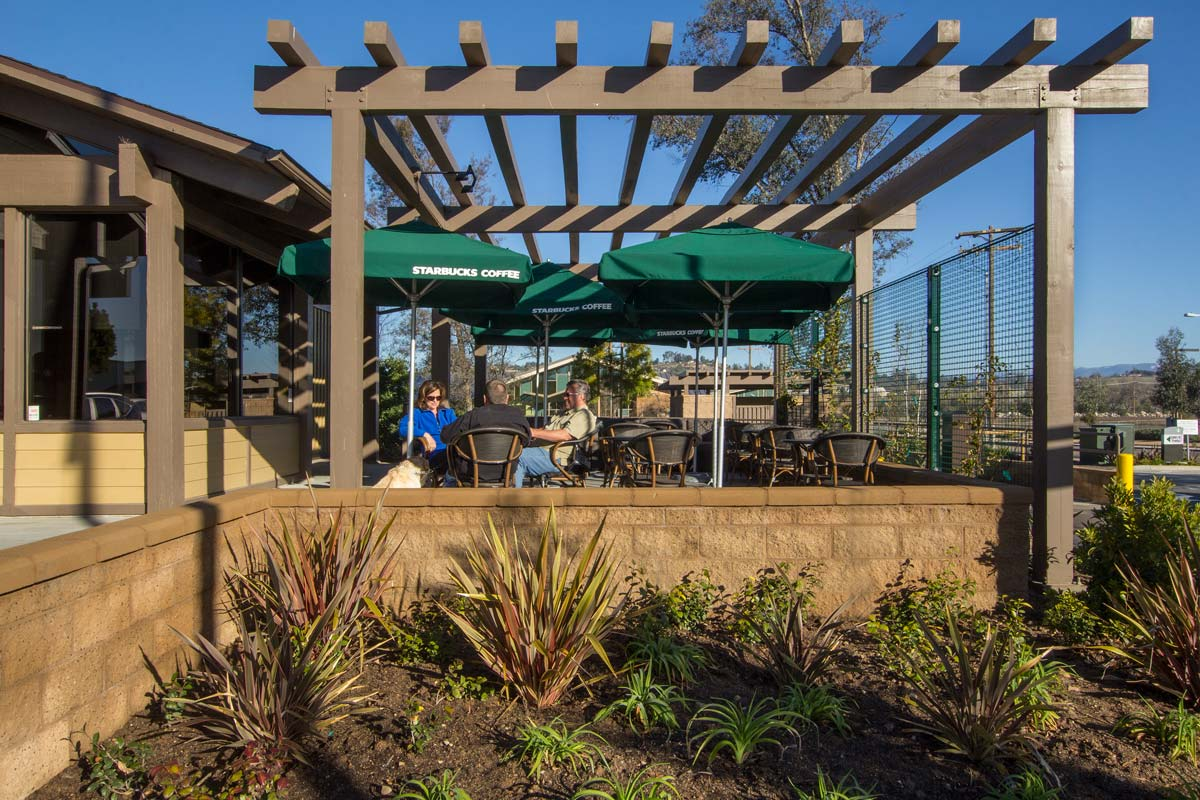 A trellis and umbrellas were added for shade from the Ramona sunshine.