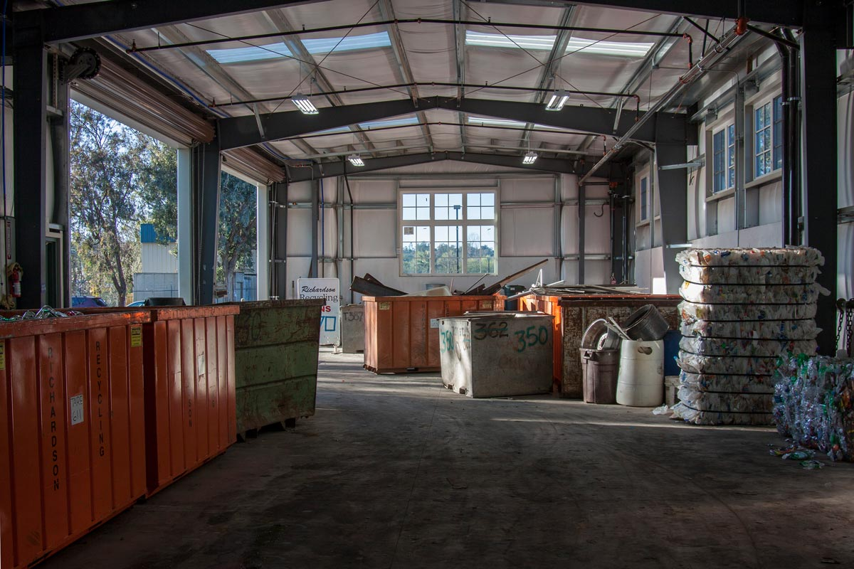 The large open space with high ceilings provide plenty of space for recyclables and equipment.